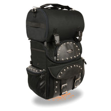 Medium Textile Two Piece Studded Touring Sissy Bar Bag (14X15X7) - highwayleather