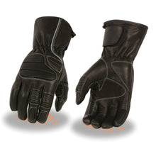 Men's Thermal Lined Padded Back Racing Glove w/Reflective Piping - HighwayLeather