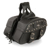 Zip-Off PVC Studded Throw Over Rounded Saddle Bag (15X10X6X18) - HighwayLeather