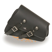 Right Side Heavily Slanted PVC Swing Arm Bag w/ Buffalo Snaps (11.5X5X12X3) - highwayleather