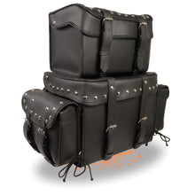 Large Four Piece Studded PVC Touring Pack w/ Barrel Bag (15.5X13X10) - highwayleather