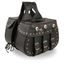 Zip-Off Triple Buckle PVC Throw Over Saddle Bag w/ Studs & Conchos (18X11X7X19) - highwayleather