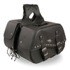 Zip-Off Two Buckle Extended Lid Studded PVC Throw Over Saddle Bag  (19X12X7X20) - HighwayLeather