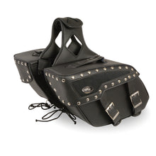 Medium Zip-Off Studded PVC Slanted Throw Over Saddle Bag (13X10X5.5X20) - HighwayLeather