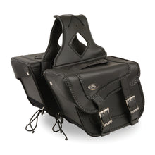 Medium Braided Zip-Off PVC Throw Over Saddle Bag(12X9X6X17.5) - highwayleather