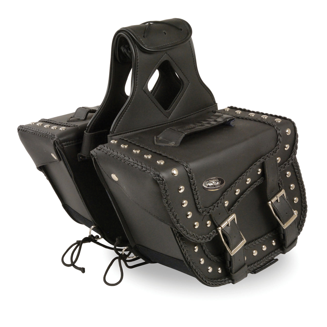 Medium Braided Zip-Off PVC Throw Over Saddle Bag w/ Studs (12X9X6X17.5) - HighwayLeather