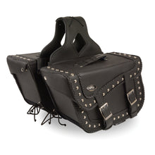 Large Braided Zip-Off PVC Throw Over Saddle Bag w/ Studs (16X10X6X22) - highwayleather