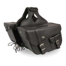 Large Braided Zip-Off PVC Throw Over Saddle Bag w/ Bonus Pocket (16X10X6X22) - highwayleather