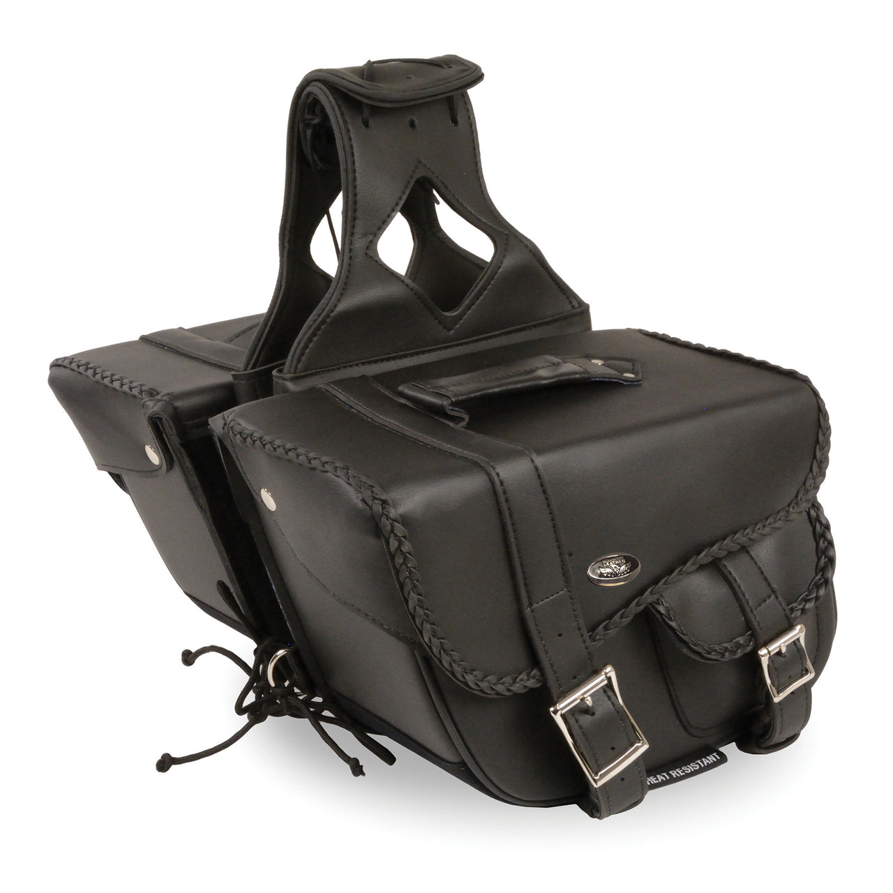 Medium Braided Zip-Off PVC Throw Over Saddle Bag w/ Bonus Pocket (12X9X6X17.5) - HighwayLeather