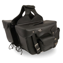Double Front Pocket PVC Throw Over Saddle Bag w/ Reflective Piping (16x11x6) - HighwayLeather