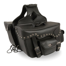 Double Front Pocket Studded PVC Throw Over Saddle Bag w/ Reflective Piping - HighwayLeather