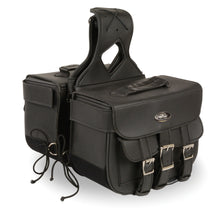 Straight Drop Zip-Off Triple Strap PVC Throw Over Saddle Bag (16X11X6X22) - highwayleather