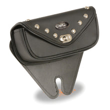 Small Single Pocket Studded Windshield Mount Bag w/ Turn Clasp (8.5X4X3) - highwayleather