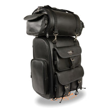 Extra Large Two Piece PVC Touring Pack w/ Reflective Piping (14X17X7) - highwayleather