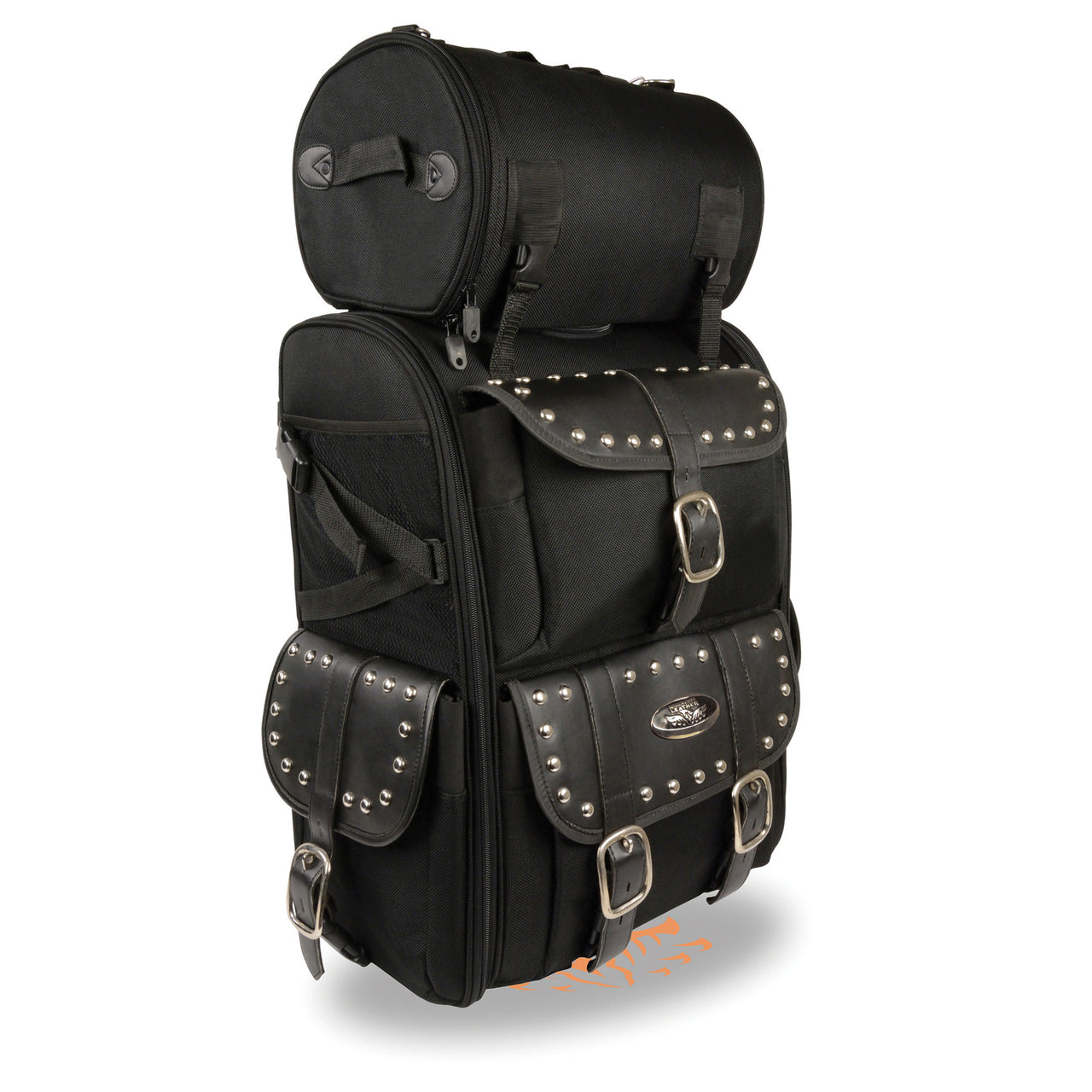 Extra Large Two Piece Studded Nylon Touring Pack (15X21X10) - HighwayLeather
