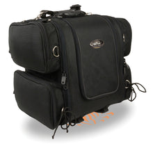 Medium Nylon Ultra Touring Sissy Bar Bag w/ Reflective Piping (17X17X12) - highwayleather
