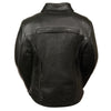 Ladies Braided Leather Jacket w/ Shirt Collar - HighwayLeather