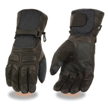 Men's Waterproof Leather/Textile Gauntlet Gloves w/ Gel Palm - HighwayLeather