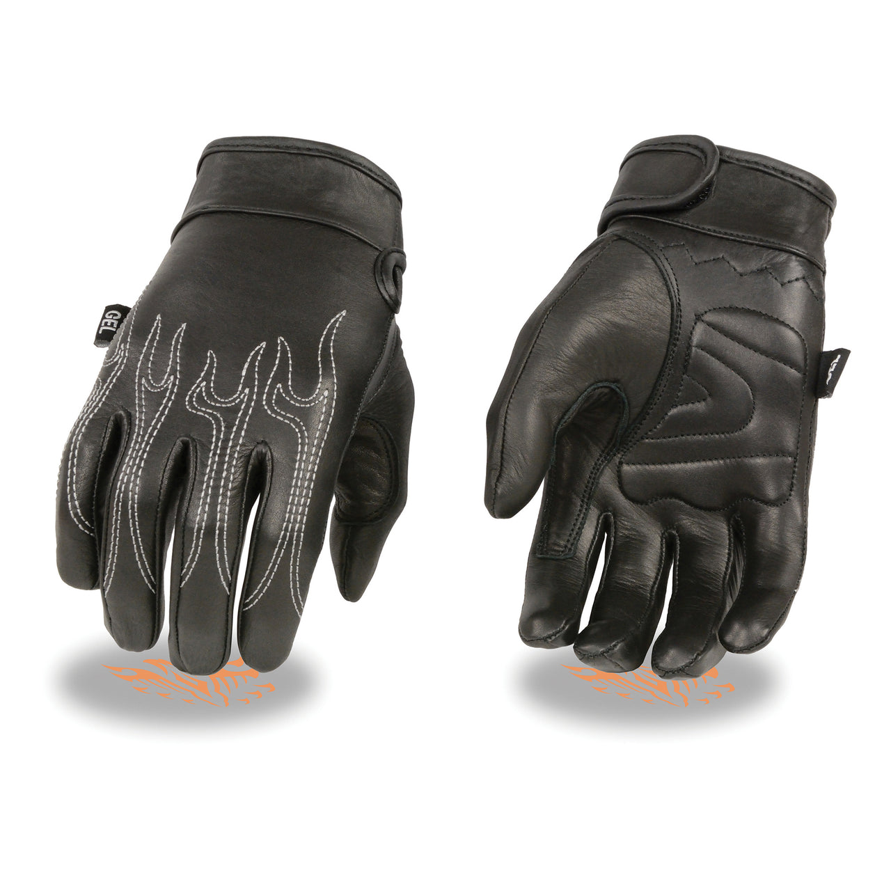 Men's Leather Crusing Gloves w/ Flame Embroidery, Gel Palm - HighwayLeather