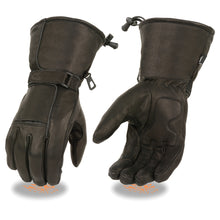 Men's Waterproof Gauntlet Gloves w/ Reflective Piping, Gel Palm - HighwayLeather