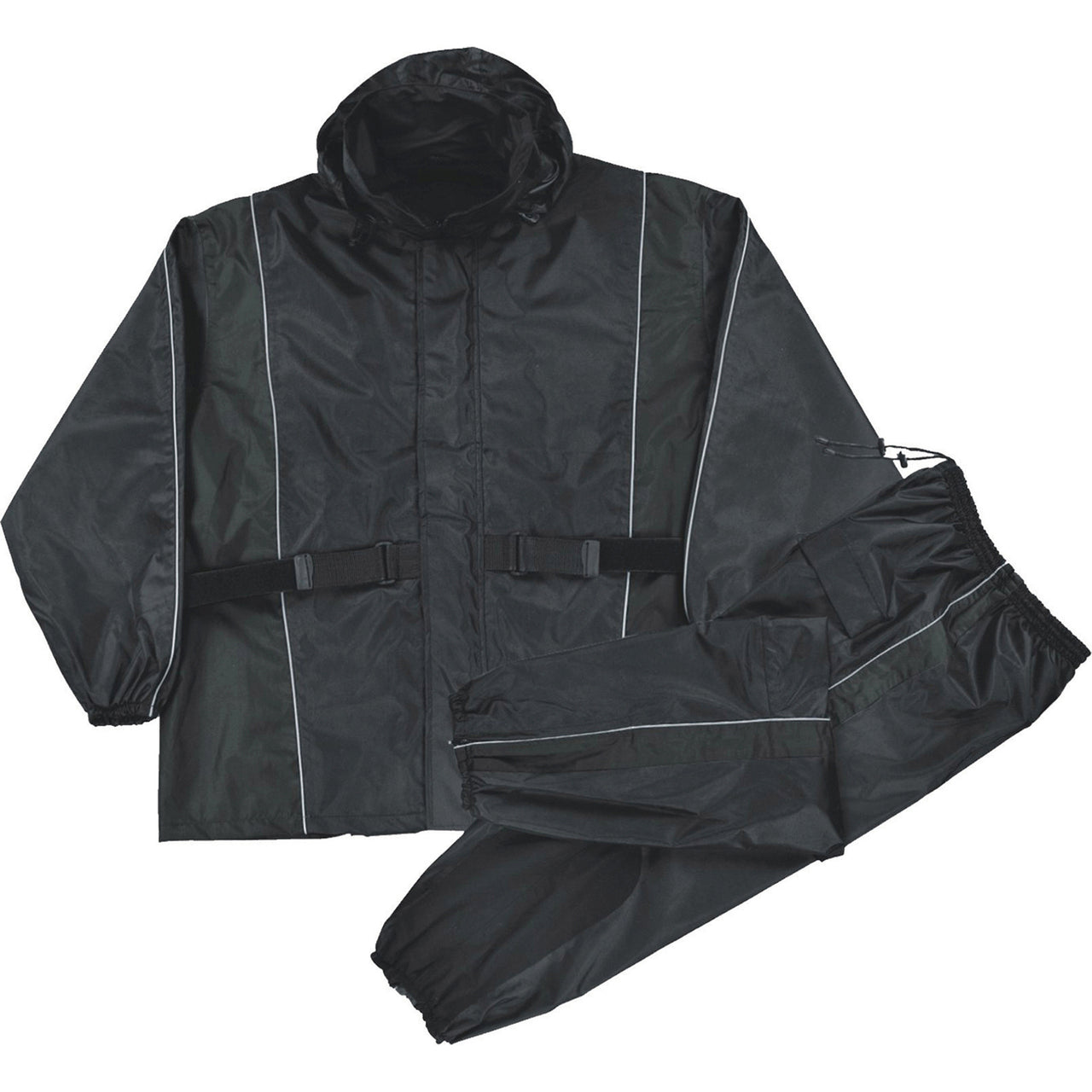 Men's Black Waterproof Rain Suit w/ Reflective Piping & Heat Guard - HighwayLeather