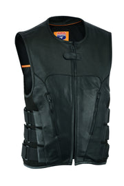 Swat Team  bullet proof style Biker club Leather Vest-Police vest - HighwayLeather