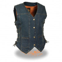 Women's 6 Pocket Side Lace Denim Vest w/ Gun Pockets - highwayleather