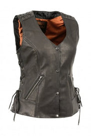 Women's Lightweight Lace to Lace Snap Front Vest - HighwayLeather