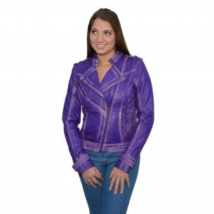 Women's Sheepskin Asymmetrical Moto Jacket w/ Studding - HighwayLeather