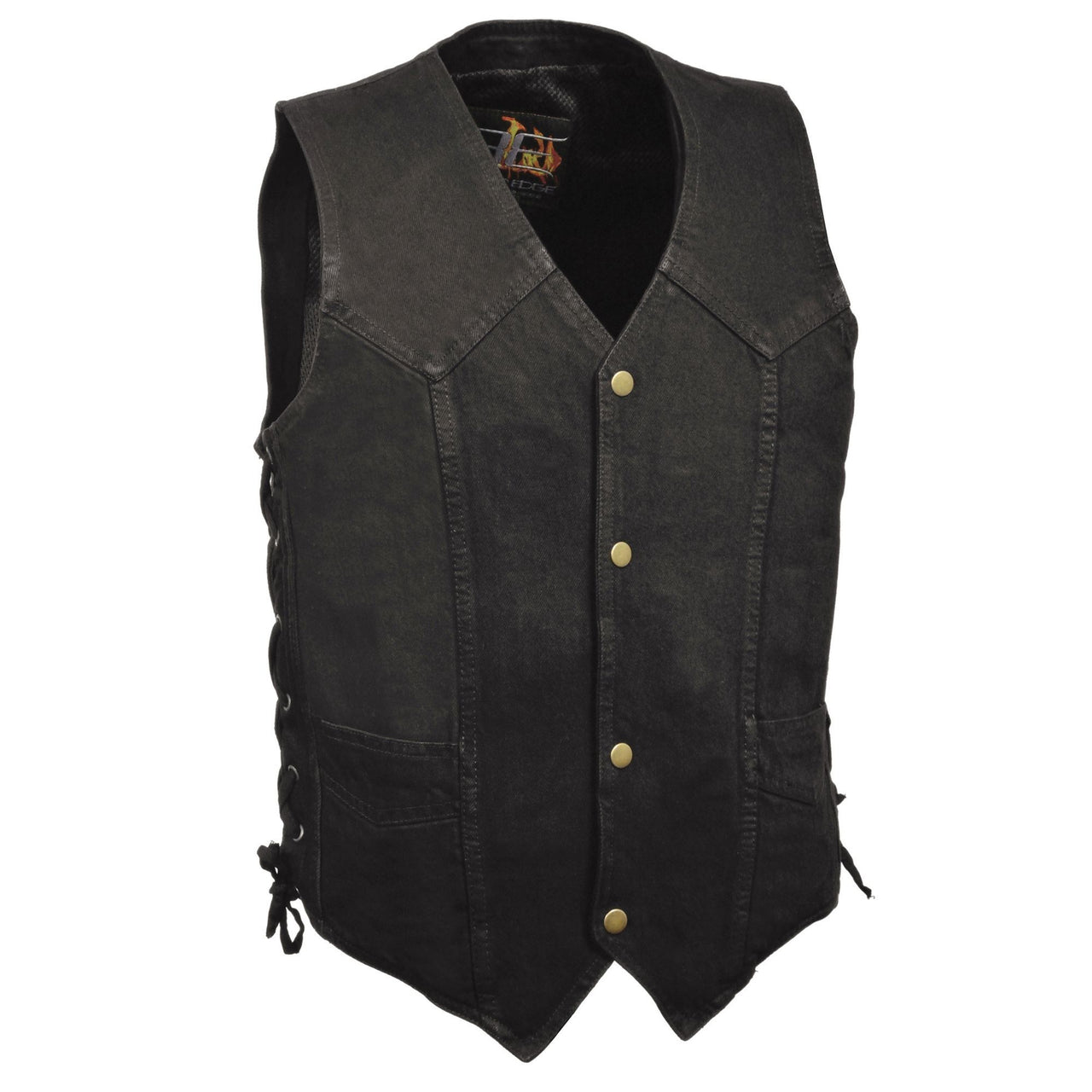 Men's Classic Snap Front Side Lace Denim Vest - highwayleather