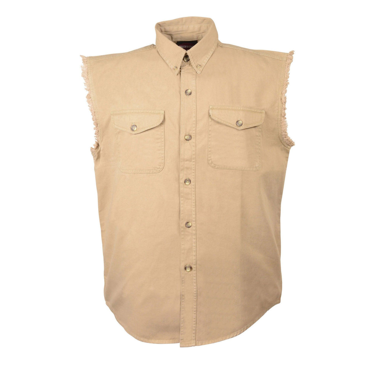 Men's Beige Lightweight Sleeveless Denim Shirt - HighwayLeather