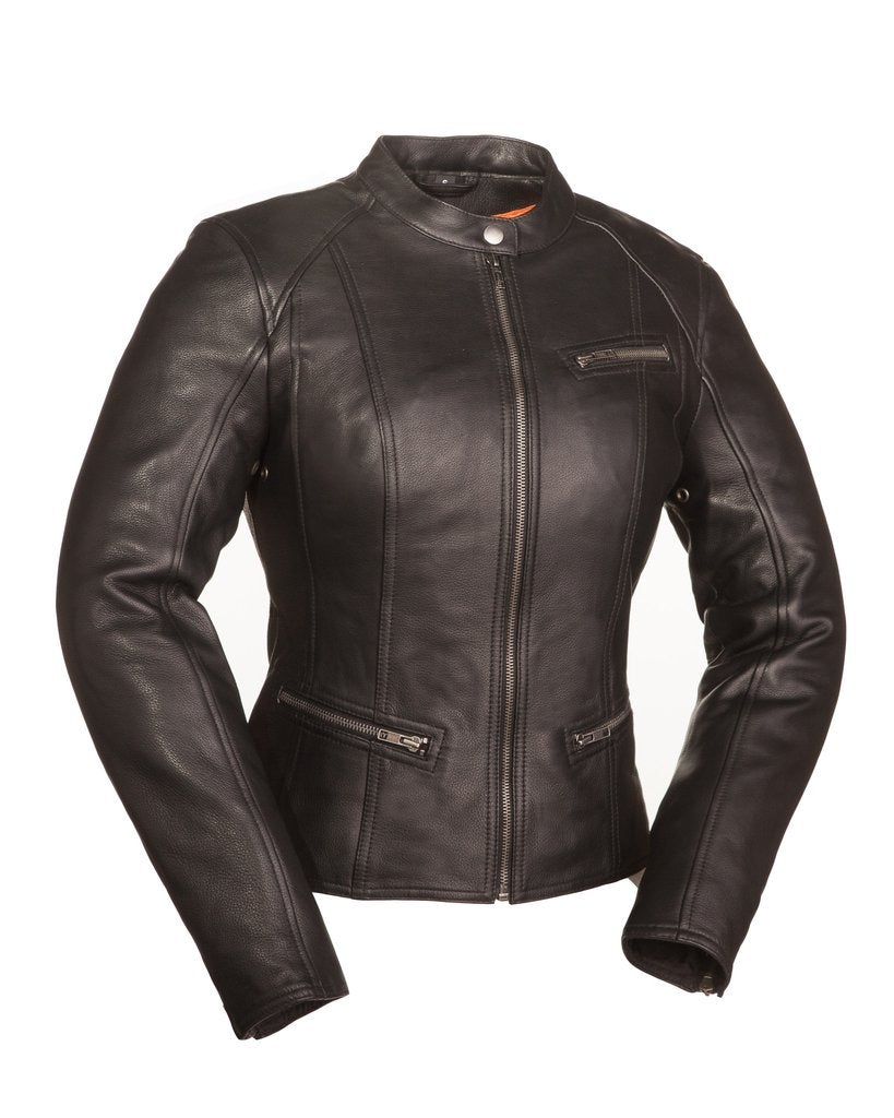 Fashionista Ladies Scooter Leather Jacket Black - HighwayLeather
