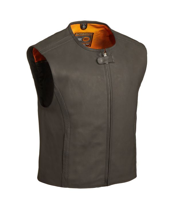The Cleveland Men Club Leather Vest – Dull Black