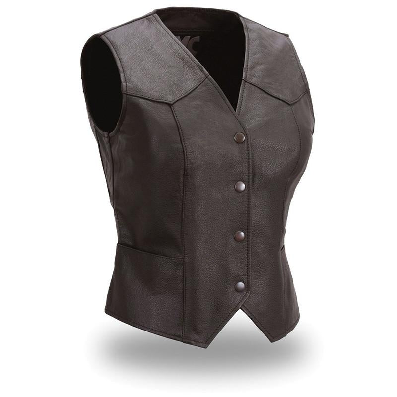 Fitted Sweet Sienna Snap Women's Front Vest - HighwayLeather