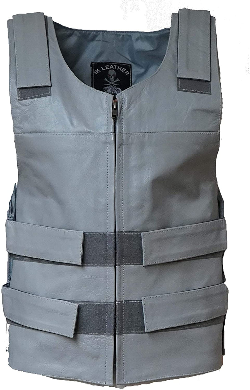 MEN'S GRAY BULLET PROOF LEATHER VEST Shade#36 (SKU#11643Gray36) - HighwayLeather