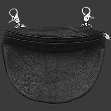 Black leather clip hip belt purse pouch lady rider biker motorcycle - HighwayLeather