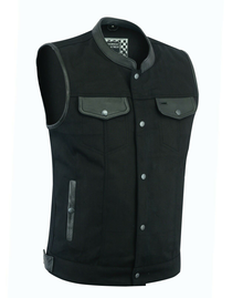 Biker Denim Club Style Anarchy Vest with Conceal Carry Gun pocket both sides