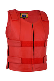 Ladies red bulletproof style leather vest - Police vest - HighwayLeather