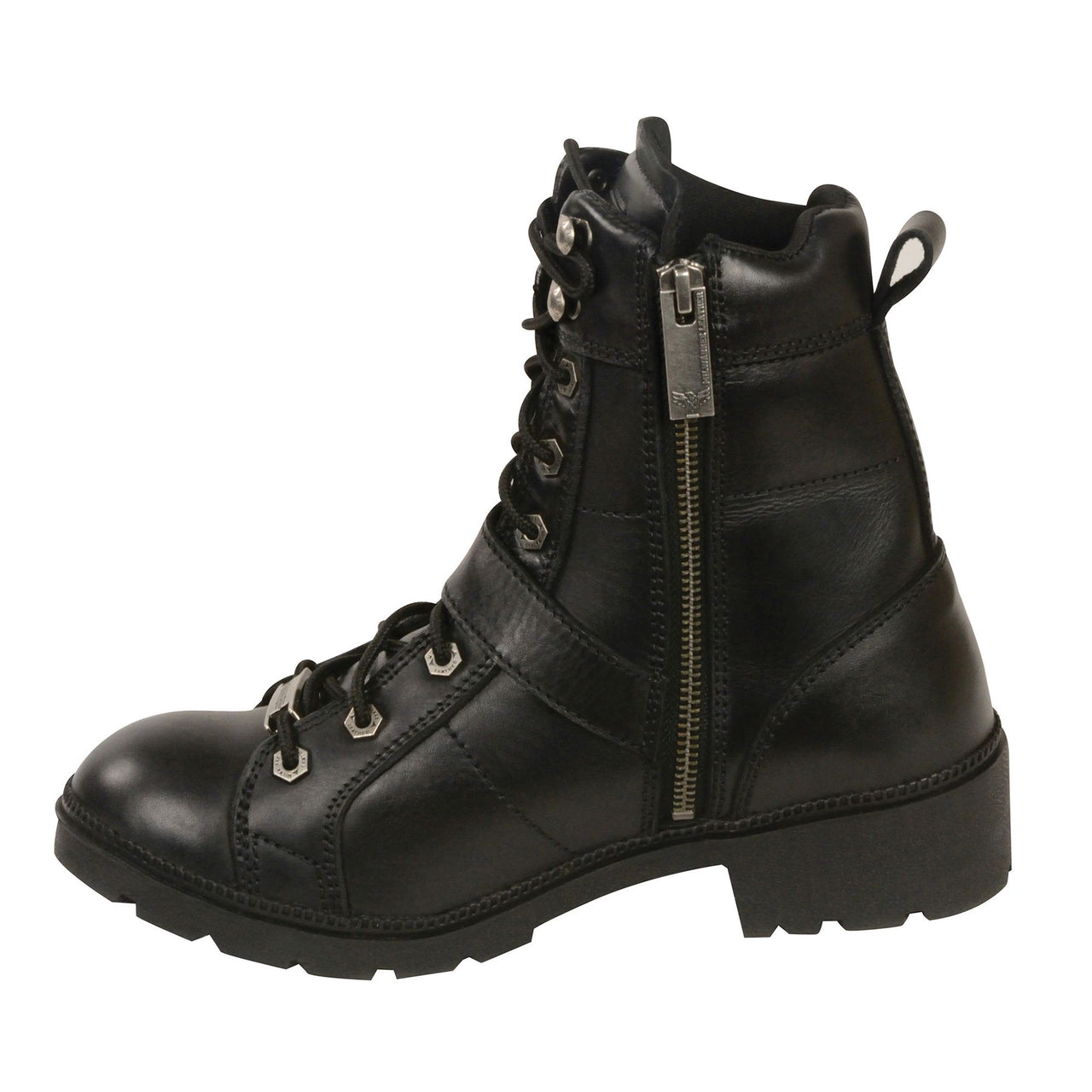 Women's Lace to Toe Side Buckle Leather Boot w/ Plain Toe - HighwayLeather