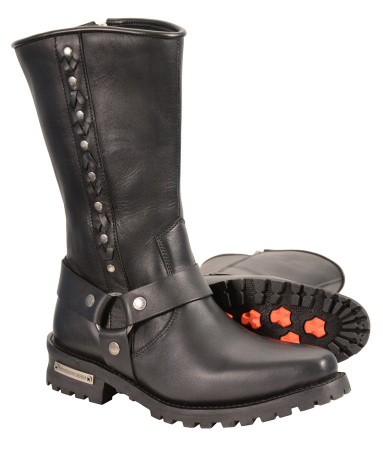 Men's Harness Boot w/ Braid & Riveted Details - HighwayLeather