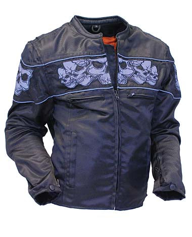 Women Nylon Motorcycle Jacket with Reflector Skulls with Gun Pockets - HighwayLeather