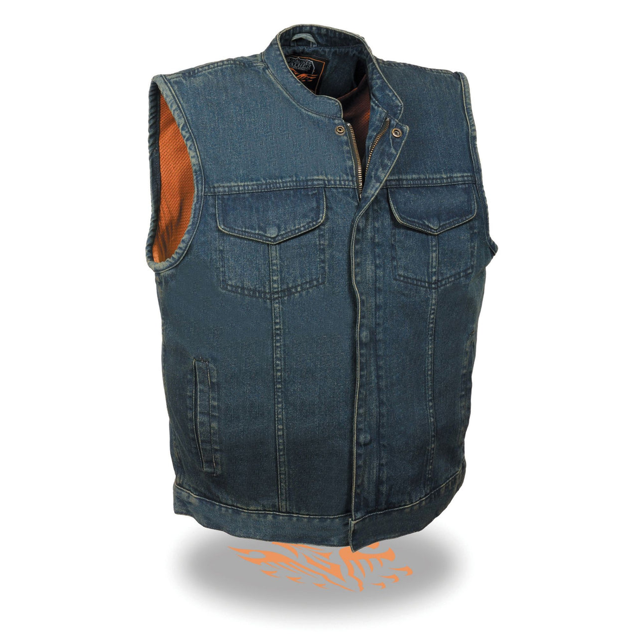Men's Concealed Snap Denim Club Vest w/ Hidden Zipper - HighwayLeather