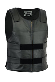 Bulletproof Style tactical street leather vest - Zippered - highwayleather