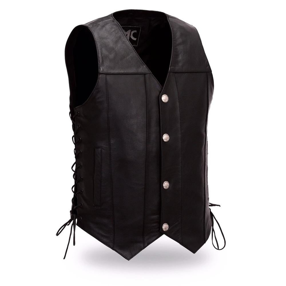 Men's Buffalo Nickel Leather Vest. Concealed Gun Pockets. Adjustable Side Lacing - HighwayLeather