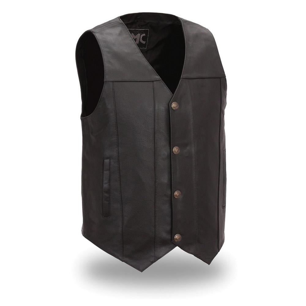 Men's Buffalo Nickel Vest with Dual Side Internal Concealed Gun Pockets - HighwayLeather
