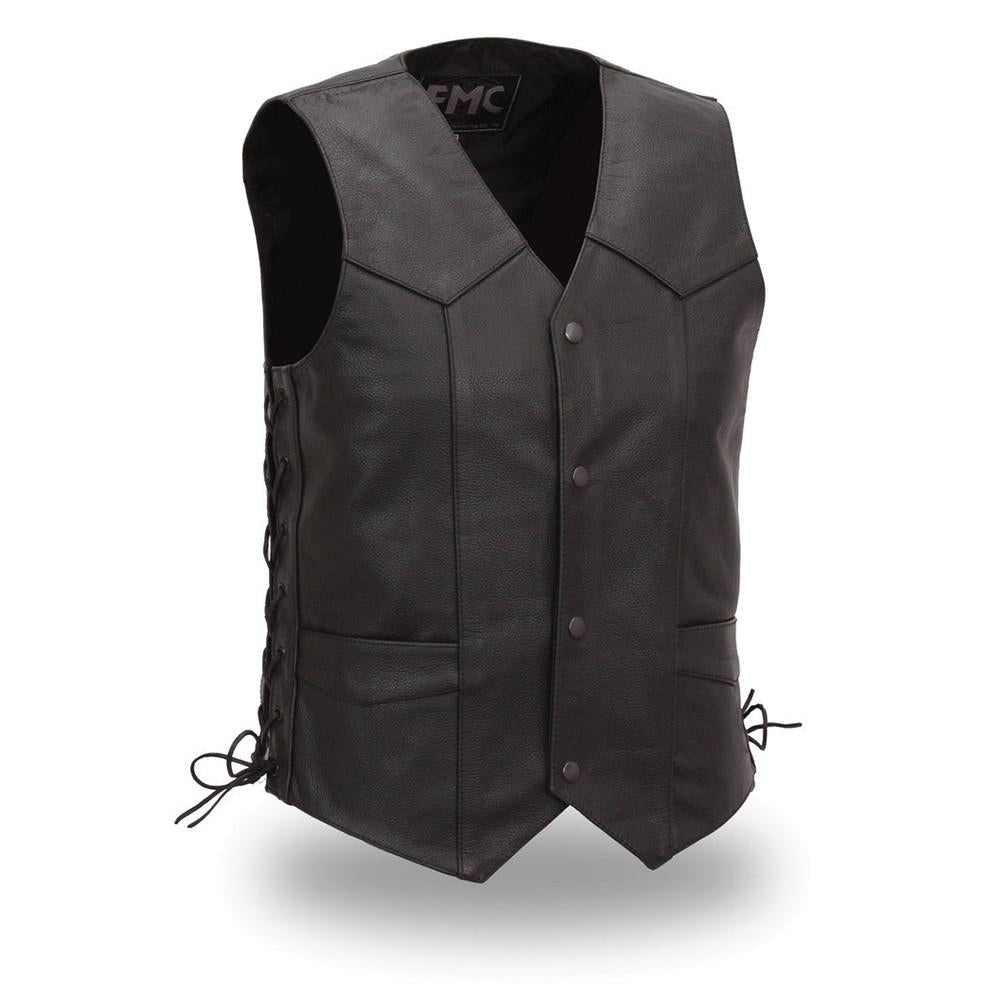 Men's Cabine Side Lace Classic Leather Vest. Fully Lined. - HighwayLeather