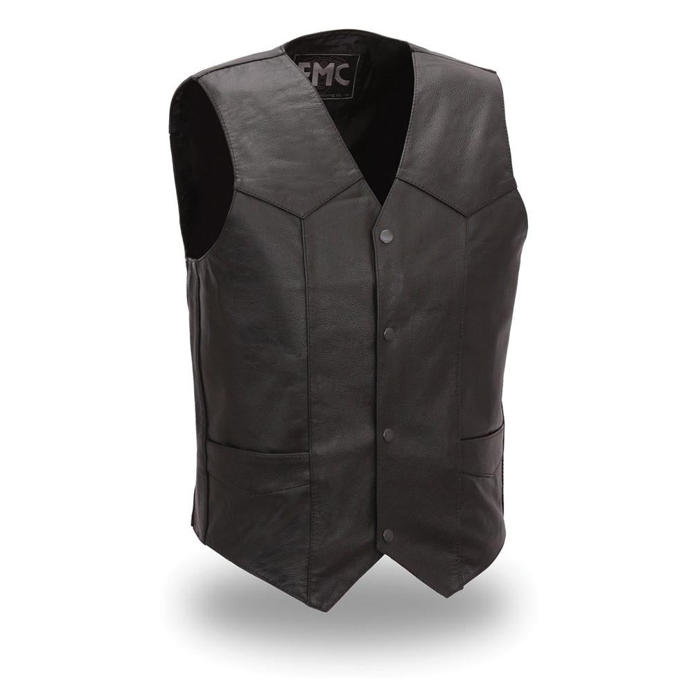 Men's Classic Top Shot Four Snap Leather Vest Classic Look - highwayleather