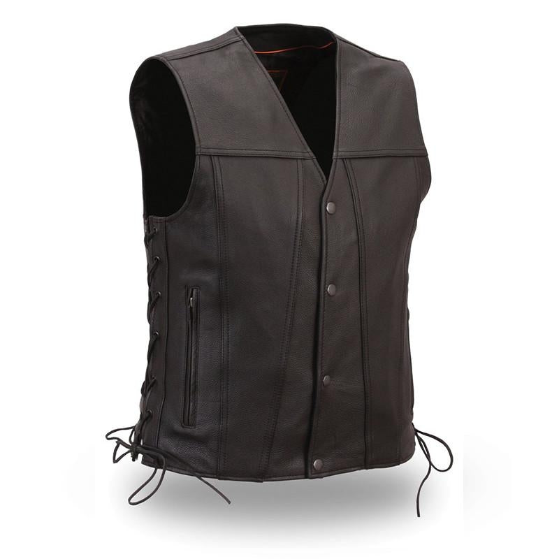 Men's Single Back Panel Gambler Leather Vest - HighwayLeather
