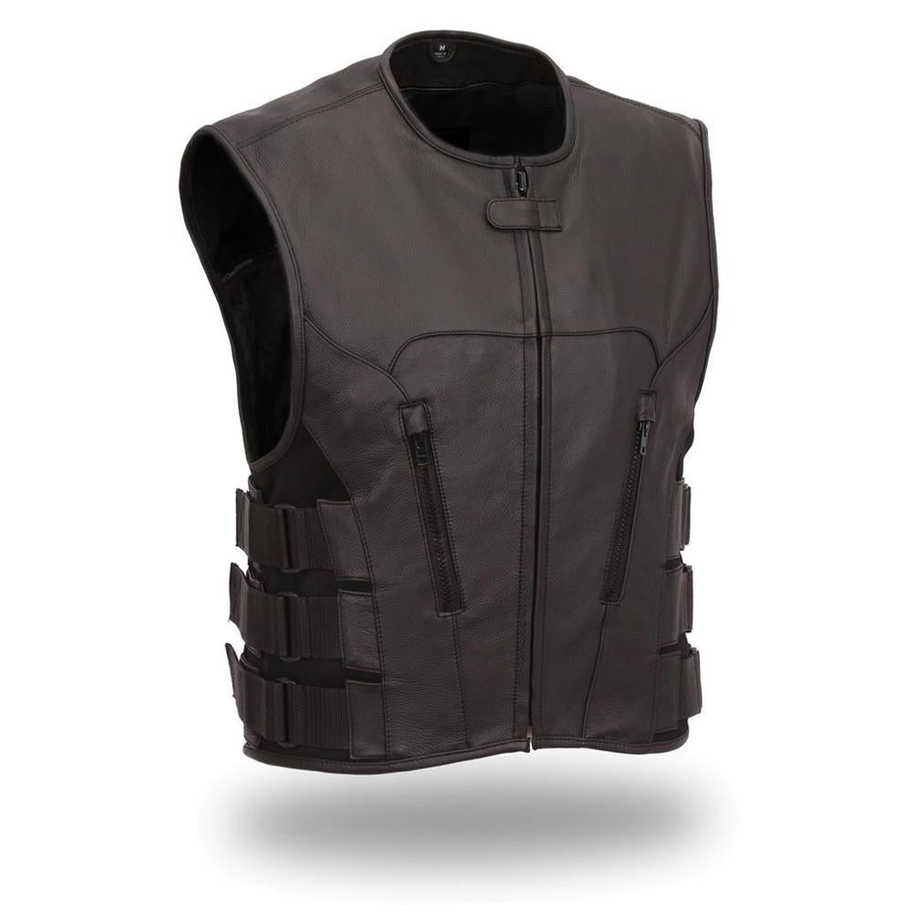 Men's Updated SWAT Team Style Leather Vest Unique Styling Hidden Front Zipper - HighwayLeather