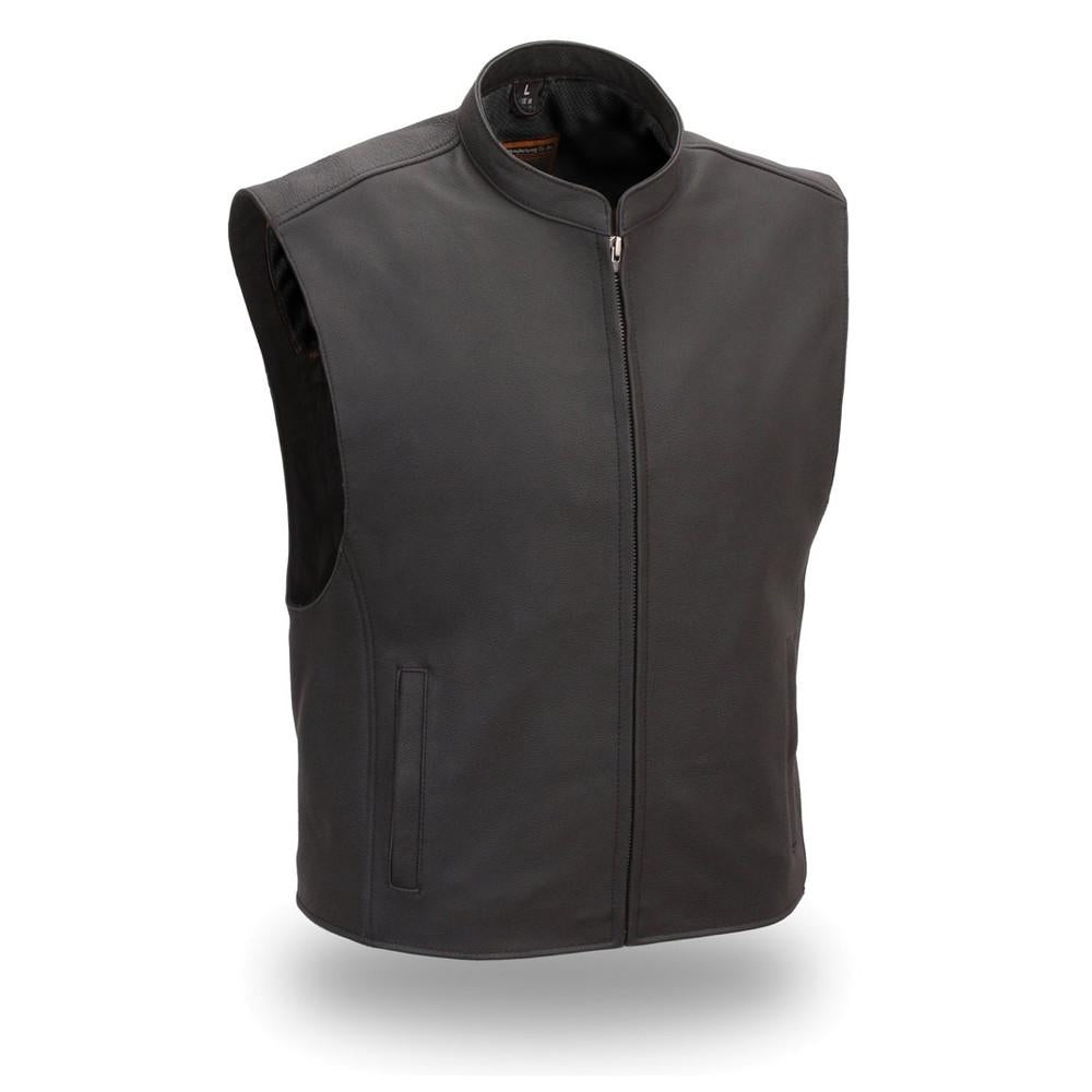 Men's Zip Front Club Patch Vest Black - highwayleather